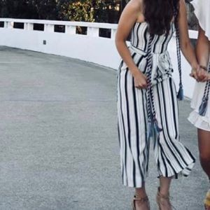 H&M navy and white striped jumpsuit